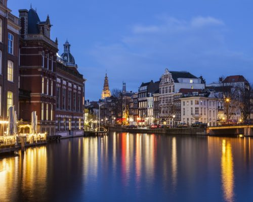 Architecture of Amsterdam at night. Amsterdam, Netherlands.