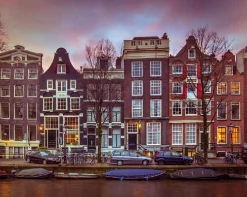 Historical Colorful canal houses in vintage toning on Brouwersgracht in the grachtengordeal the UNESCO World Heritage site of Amsterdam
