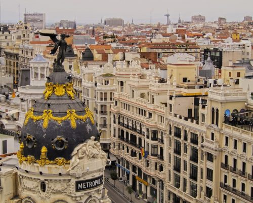 Spain, Madrid, Elevated view of the Metropolis Building.