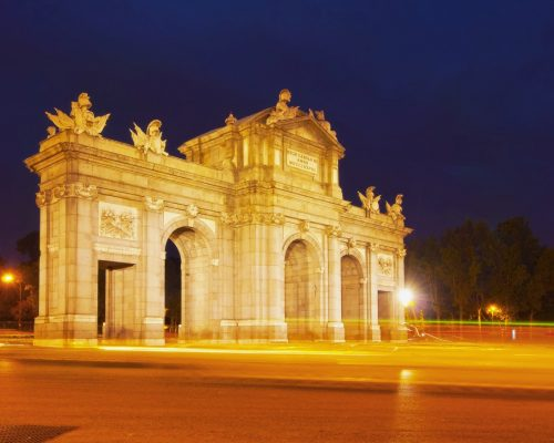 Spain, Madrid, Plaza de la Independencia, Neo-classical triumphal Archway The Puerta de Alcala.