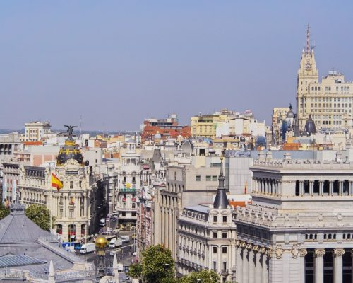 Spain, Madrid, View from the Cybele Palace towards the Alcala Street and the Metropolis Building.
