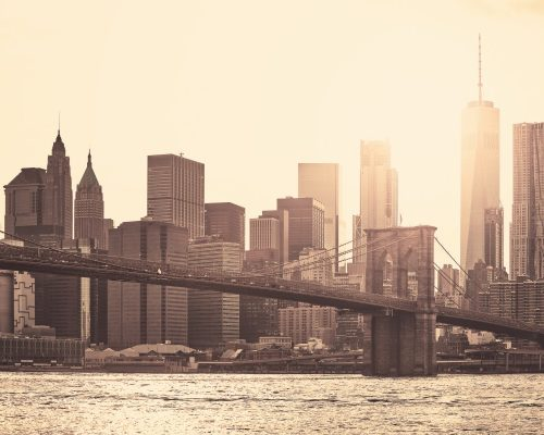 Manhattan at sunset, sepia toning applied, New York City, USA.