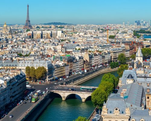 Paris cityscape and landmarks at summer day, France