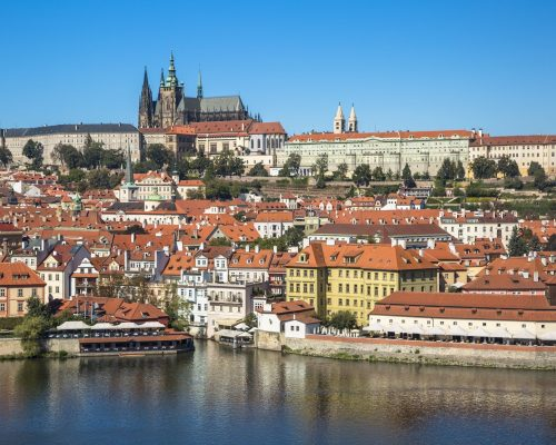 Panorama of old town of Prague with the  Prague castle, Czech Republic.