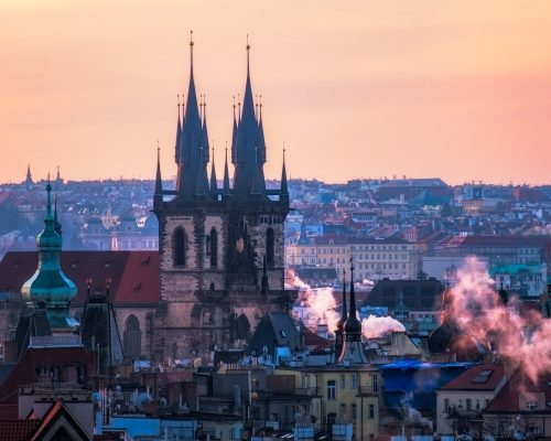 Scenic view of Prague old town cityscape at sunrise, Czech Republic, Europe